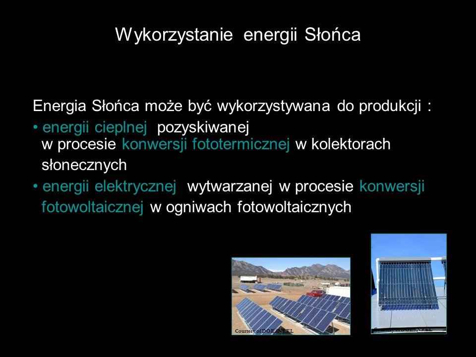 Wykorzystanie energii Słońca Energia Słońca może być wykorzystywana do produkcji : energii cieplnej, pozyskiwanej w procesie konwersji fototermicznej w kolektorach słonecznych; energii elektrycznej, wytwarzanej w procesie konwersji fotowoltaicznej w ogniwach fotowoltaicznych.