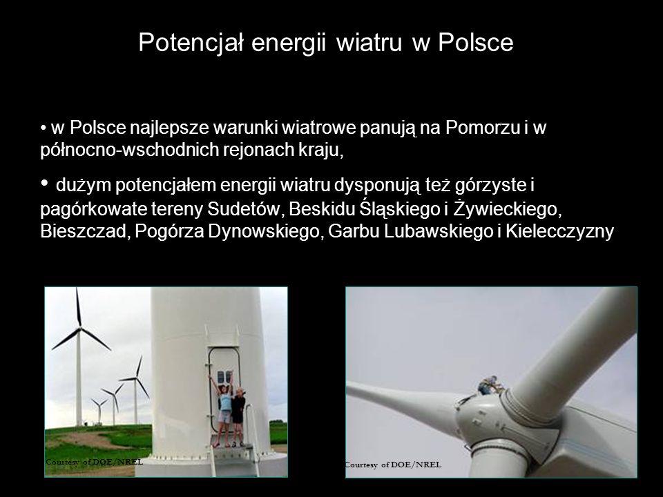 Potencjał energii wiatru w Polsce w Polsce najlepsze warunki wiatrowe panują na Pomorzu i w północno-wschodnich rejonach kraju, dużym potencjałem energii wiatru dysponują też górzyste i pagórkowate tereny Sudetów, Beskidu Śląskiego i Żywieckiego, Bieszczad, Pogórza Dynowskiego, Garbu Lubawskiego i Kielecczyzny Courtesy of DOE/NREL