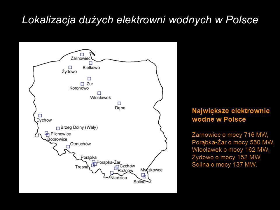 Lokalizacja dużych elektrowni wodnych w Polsce Największe elektrownie wodne w Polsce Żarnowiec o mocy 716 MW, Porąbka-Żar o mocy 550 MW, Włocławek o mocy 162 MW, Żydowo o mocy 152 MW, Solina o mocy 137 MW.