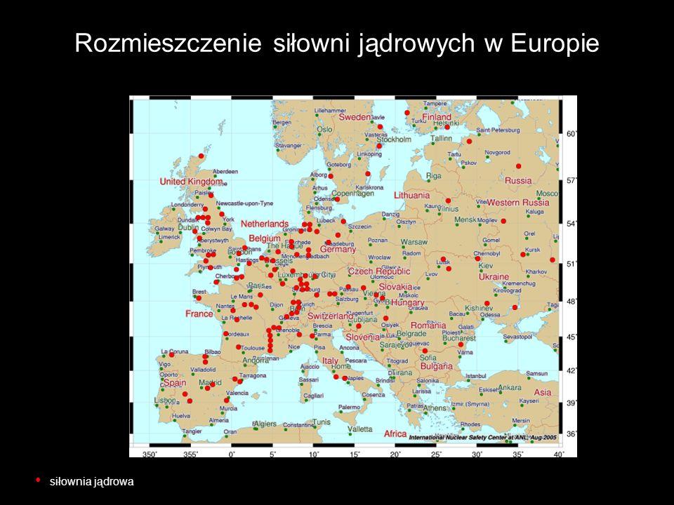 Rozmieszczenie siłowni jądrowych w Europie siłownia jądrowa