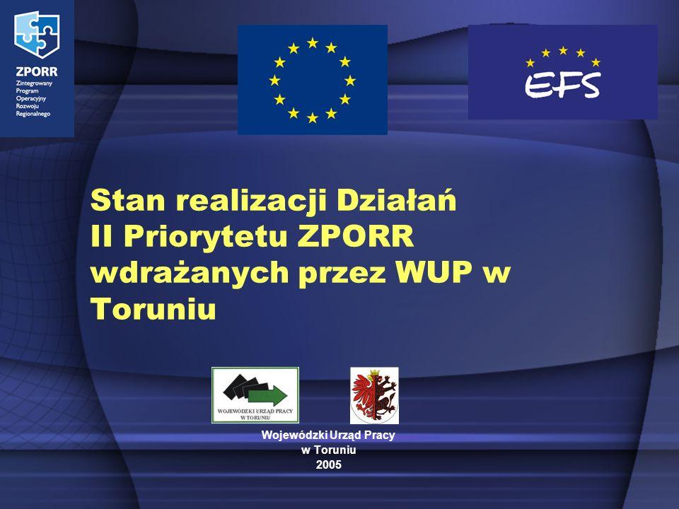 Stan realizacji Działań II Priorytetu ZPORR wdrażanych przez WUP w Toruniu Wojewódzki Urząd Pracy w Toruniu 2005