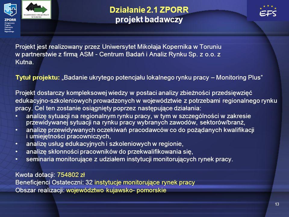 13 Działanie 2.1 ZPORR projekt badawczy Projekt jest realizowany przez Uniwersytet Mikołaja Kopernika w Toruniu w partnerstwie z firmą ASM - Centrum Badań i Analiz Rynku Sp.