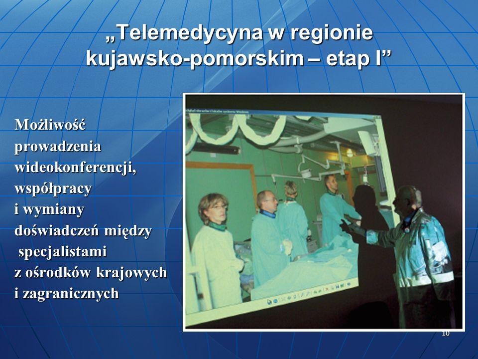 10 Telemedycyna w regionie kujawsko-pomorskim – etap I Możliwośćprowadzeniawideokonferencji,współpracy i wymiany doświadczeń między specjalistami spec
