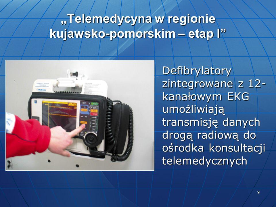 9 Telemedycyna w regionie kujawsko-pomorskim – etap I Defibrylatory zintegrowane z 12- kanałowym EKG umożliwiają transmisję danych drogą radiową do oś
