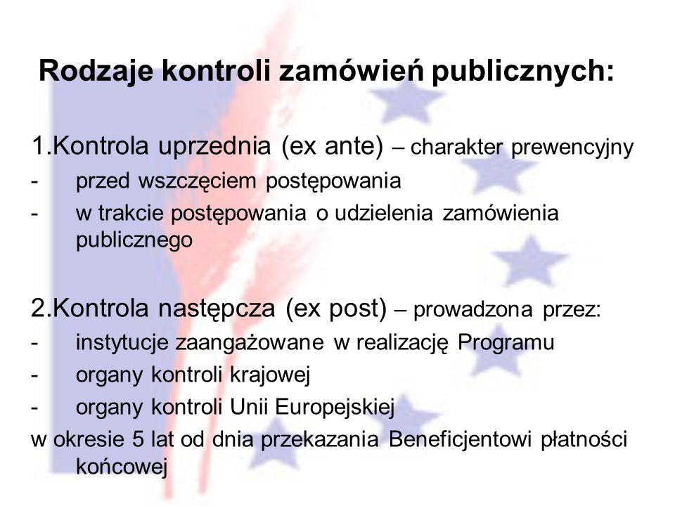 1.Kontrola uprzednia (ex ante) – charakter prewencyjny -przed wszczęciem postępowania -w trakcie postępowania o udzielenia zamówienia publicznego 2.Kontrola następcza (ex post) – prowadzona przez: -instytucje zaangażowane w realizację Programu -organy kontroli krajowej -organy kontroli Unii Europejskiej w okresie 5 lat od dnia przekazania Beneficjentowi płatności końcowej Rodzaje kontroli zamówień publicznych: