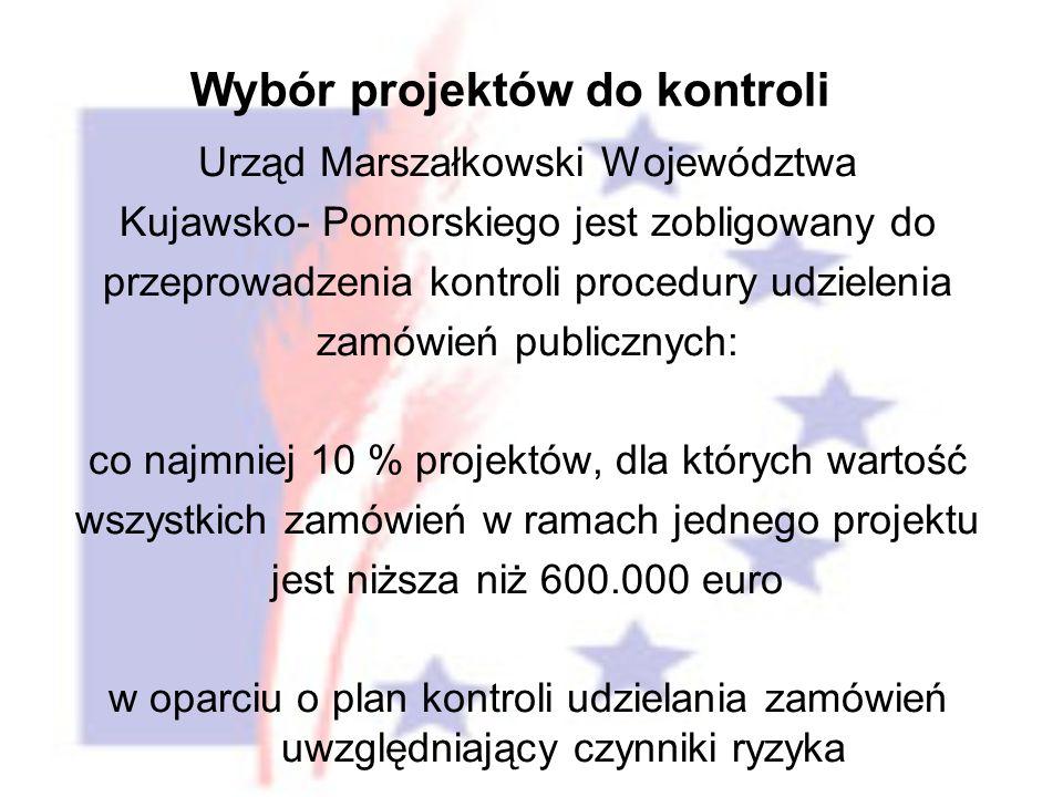 Urząd Marszałkowski Województwa Kujawsko- Pomorskiego jest zobligowany do przeprowadzenia kontroli procedury udzielenia zamówień publicznych: co najmniej 10 % projektów, dla których wartość wszystkich zamówień w ramach jednego projektu jest niższa niż 600.000 euro w oparciu o plan kontroli udzielania zamówień uwzględniający czynniki ryzyka Wybór projektów do kontroli