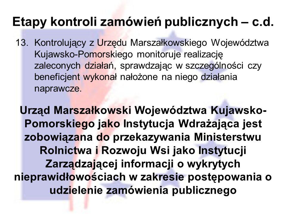 13.Kontrolujący z Urzędu Marszałkowskiego Województwa Kujawsko-Pomorskiego monitoruje realizację zaleconych działań, sprawdzając w szczególności czy beneficjent wykonał nałożone na niego działania naprawcze.