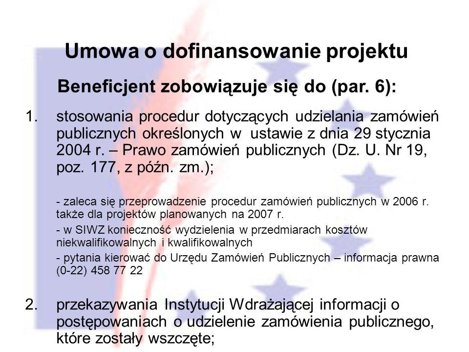 Umowa o dofinansowanie projektu 1.stosowania procedur dotyczących udzielania zamówień publicznych określonych w ustawie z dnia 29 stycznia 2004 r.