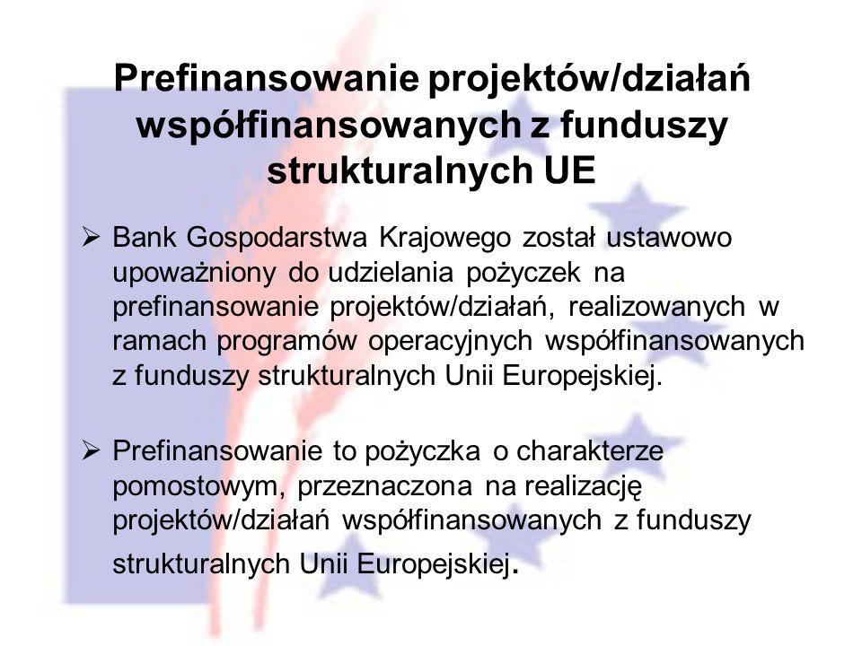 Prefinansowanie projektów/działań współfinansowanych z funduszy strukturalnych UE Bank Gospodarstwa Krajowego został ustawowo upoważniony do udzielania pożyczek na prefinansowanie projektów/działań, realizowanych w ramach programów operacyjnych współfinansowanych z funduszy strukturalnych Unii Europejskiej.
