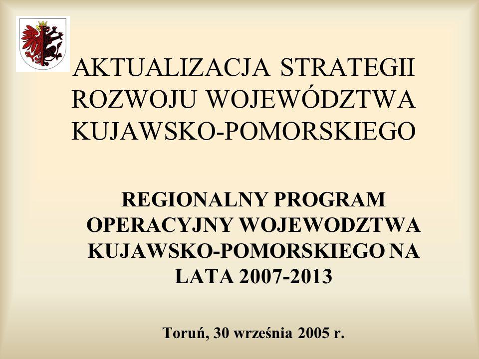 AKTUALIZACJA STRATEGII ROZWOJU WOJEWÓDZTWA KUJAWSKO-POMORSKIEGO REGIONALNY PROGRAM OPERACYJNY WOJEWODZTWA KUJAWSKO-POMORSKIEGO NA LATA 2007-2013 Toruń, 30 września 2005 r.