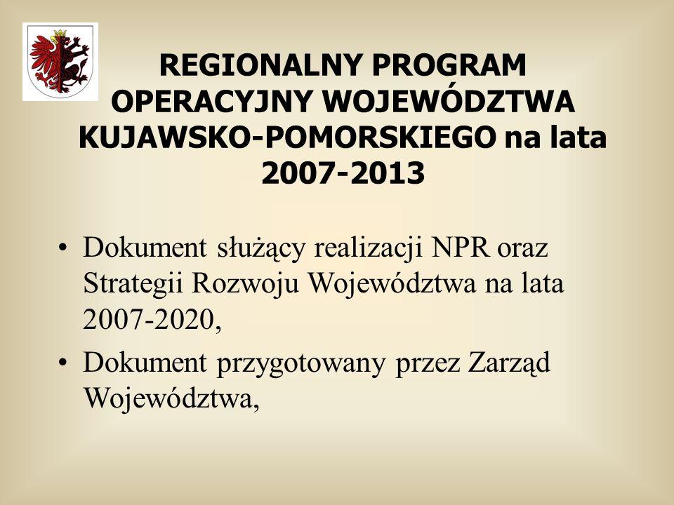 REGIONALNY PROGRAM OPERACYJNY WOJEWÓDZTWA KUJAWSKO-POMORSKIEGO na lata 2007-2013 Dokument służący realizacji NPR oraz Strategii Rozwoju Województwa na lata 2007-2020, Dokument przygotowany przez Zarząd Województwa,
