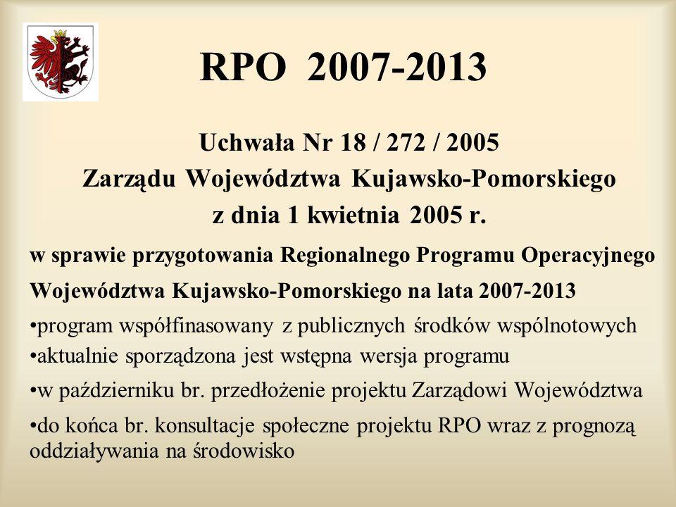 RPO 2007-2013 Uchwała Nr 18 / 272 / 2005 Zarządu Województwa Kujawsko-Pomorskiego z dnia 1 kwietnia 2005 r.