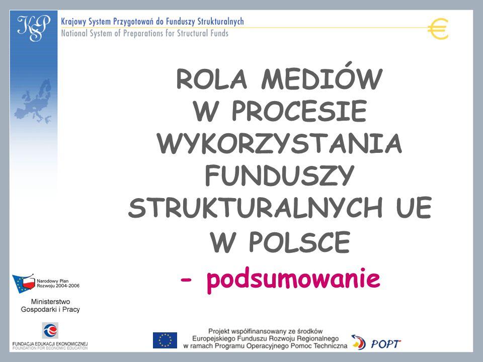 ROLA MEDIÓW W PROCESIE WYKORZYSTANIA FUNDUSZY STRUKTURALNYCH UE W POLSCE - podsumowanie