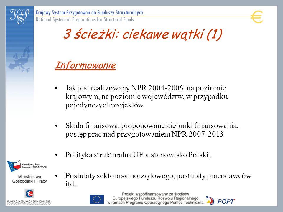 Informowanie Jak jest realizowany NPR 2004-2006: na poziomie krajowym, na poziomie województw, w przypadku pojedynczych projektów Skala finansowa, proponowane kierunki finansowania, postęp prac nad przygotowaniem NPR 2007-2013 Polityka strukturalna UE a stanowisko Polski, Postulaty sektora samorządowego, postulaty pracodawców itd.