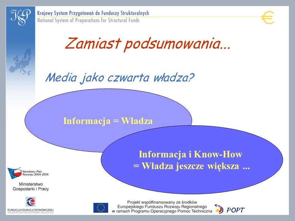 Zamiast podsumowania... Informacja = Władza Informacja i Know-How = Władza jeszcze większa... Media jako czwarta władza?