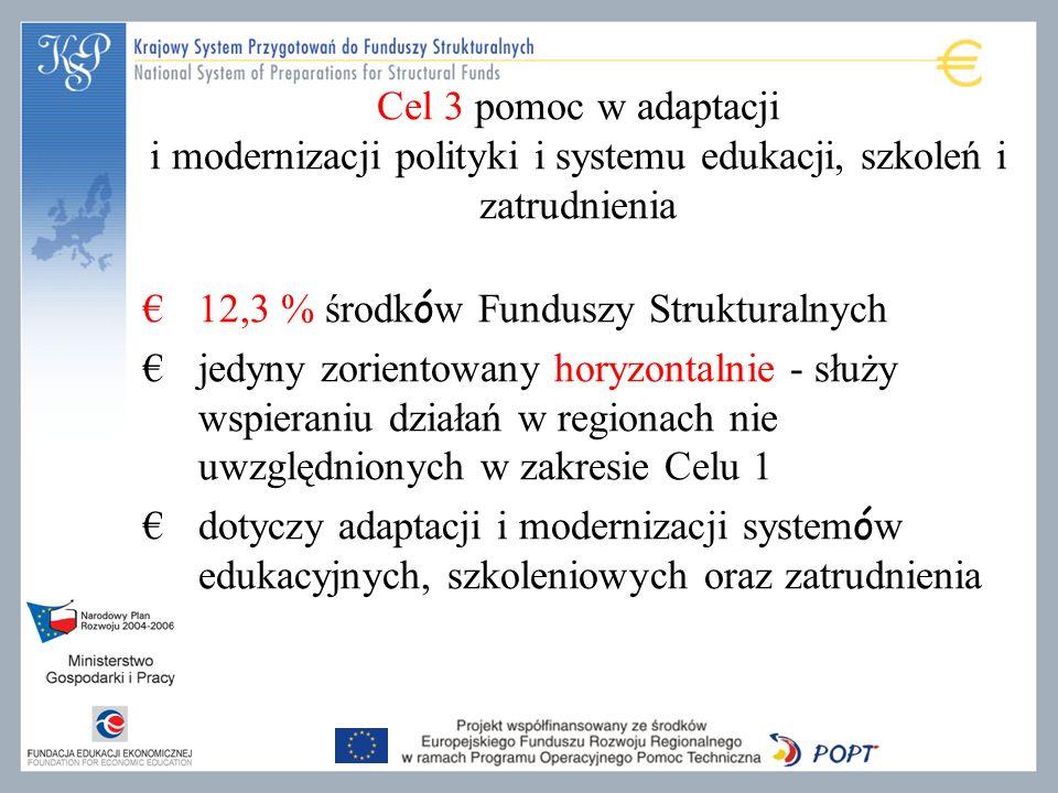 Cel 3 pomoc w adaptacji i modernizacji polityki i systemu edukacji, szkoleń i zatrudnienia 12,3 % środk ó w Funduszy Strukturalnych jedyny zorientowany horyzontalnie - służy wspieraniu działań w regionach nie uwzględnionych w zakresie Celu 1 dotyczy adaptacji i modernizacji system ó w edukacyjnych, szkoleniowych oraz zatrudnienia