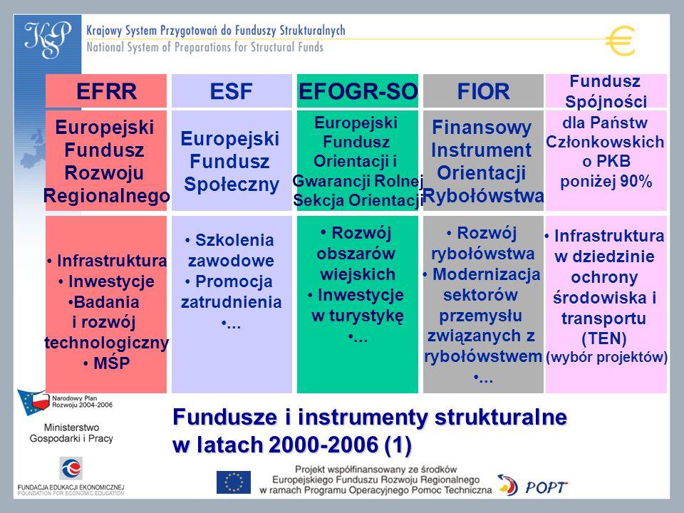 Fundusze i instrumenty strukturalne w latach 2000-2006 (1) EFRRESFEFOGR-SOFIOR Europejski Fundusz Rozwoju Regionalnego Europejski Fundusz Społeczny Europejski Fundusz Orientacji i Gwarancji Rolnej Sekcja Orientacji Finansowy Instrument Orientacji Rybołówstwa Infrastruktura Inwestycje Badania i rozwój technologiczny MŚP Szkolenia zawodowe Promocja zatrudnienia...