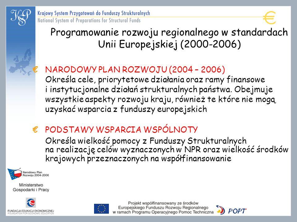 NARODOWY PLAN ROZWOJU (2004 – 2006) Określa cele, priorytetowe działania oraz ramy finansowe i instytucjonalne działań strukturalnych państwa.