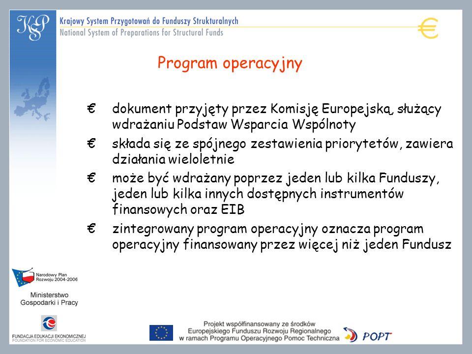 Program operacyjny dokument przyjęty przez Komisję Europejską, służący wdrażaniu Podstaw Wsparcia Wspólnoty składa się ze spójnego zestawienia priorytetów, zawiera działania wieloletnie może być wdrażany poprzez jeden lub kilka Funduszy, jeden lub kilka innych dostępnych instrumentów finansowych oraz EIB zintegrowany program operacyjny oznacza program operacyjny finansowany przez więcej niż jeden Fundusz