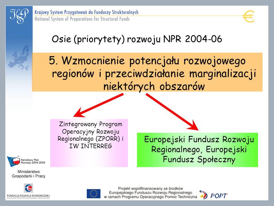 5. Wzmocnienie potencjału rozwojowego regionów i przeciwdziałanie marginalizacji niektórych obszarów Zintegrowany Program Operacyjny Rozwoju Regionaln