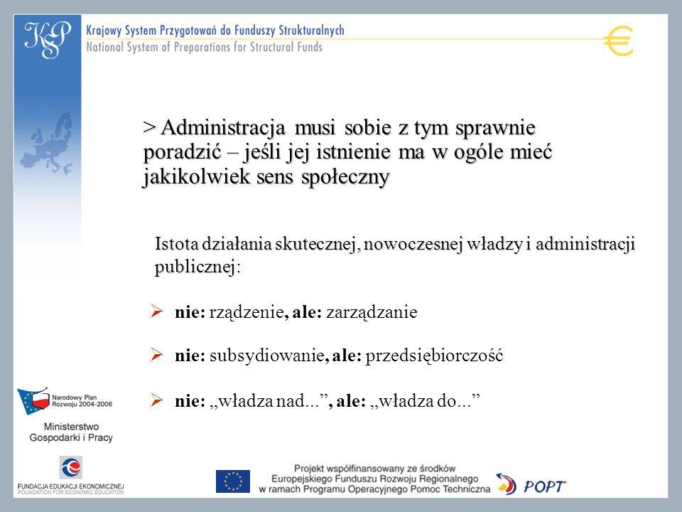 nie: rządzenie, ale: zarządzanie nie: subsydiowanie, ale: przedsiębiorczość nie: władza nad..., ale: władza do... Istota działania skutecznej, nowocze