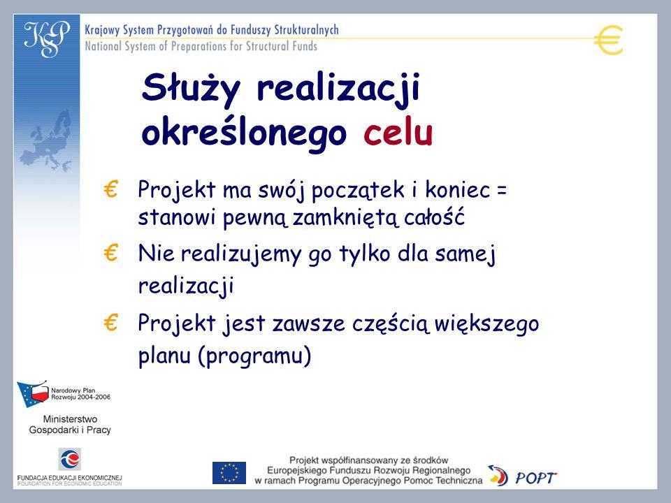 Służy realizacji określonego celu Projekt ma swój początek i koniec = stanowi pewną zamkniętą całość Nie realizujemy go tylko dla samej realizacji Projekt jest zawsze częścią większego planu (programu)