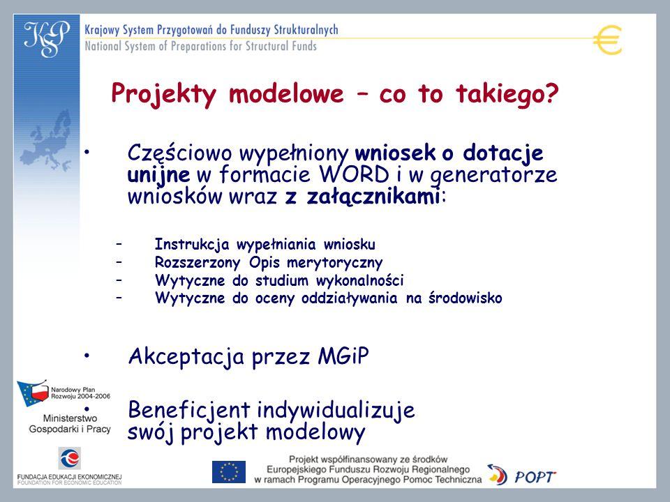 Projekty modelowe – co to takiego? Częściowo wypełniony wniosek o dotacje unijne w formacie WORD i w generatorze wniosków wraz z załącznikami: –Instru