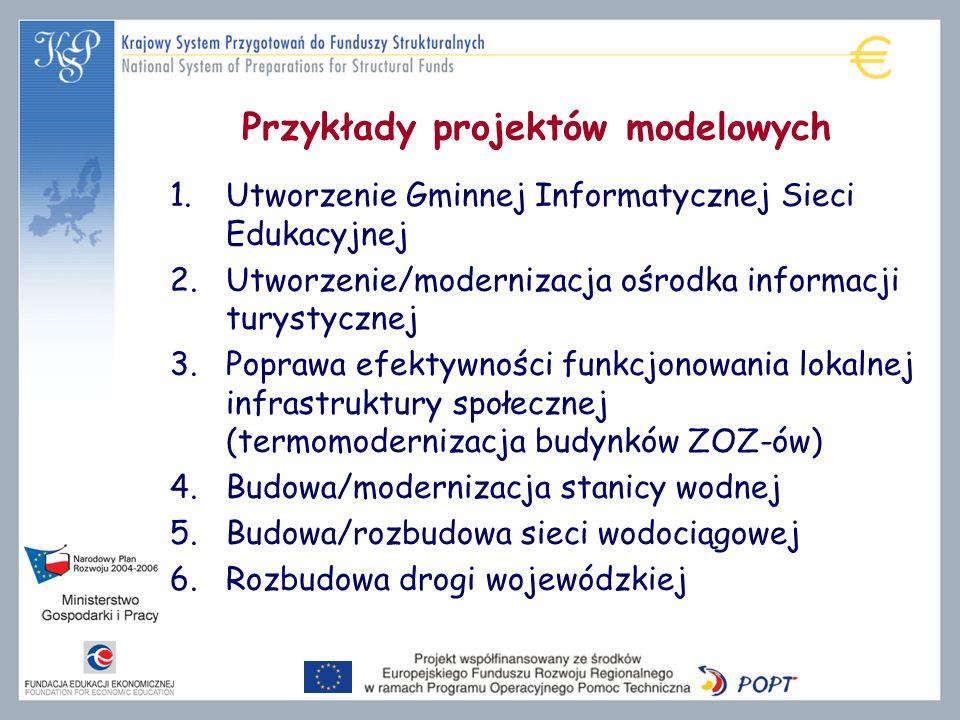 Przykłady projektów modelowych 1.Utworzenie Gminnej Informatycznej Sieci Edukacyjnej 2.Utworzenie/modernizacja ośrodka informacji turystycznej 3.Popra