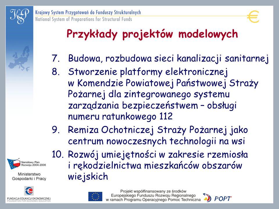 Przykłady projektów modelowych 7.Budowa, rozbudowa sieci kanalizacji sanitarnej 8.Stworzenie platformy elektronicznej w Komendzie Powiatowej Państwowe