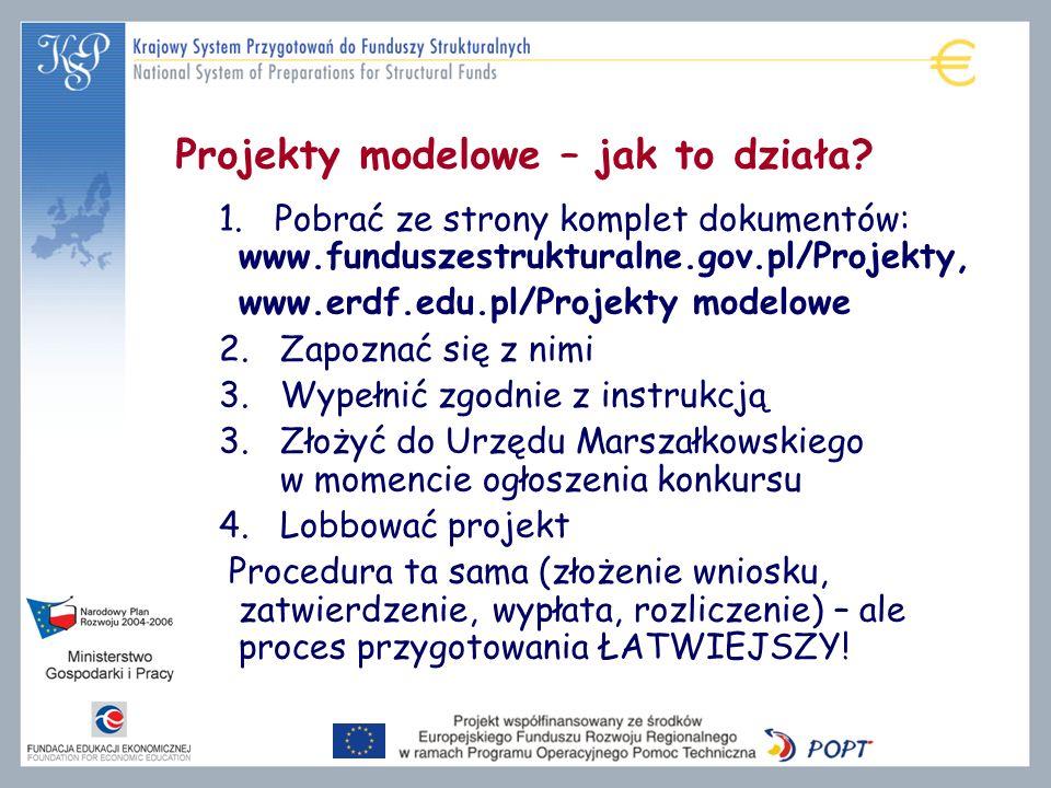 Projekty modelowe – jak to działa? 1. Pobrać ze strony komplet dokumentów: www.funduszestrukturalne.gov.pl/Projekty, www.erdf.edu.pl/Projekty modelowe