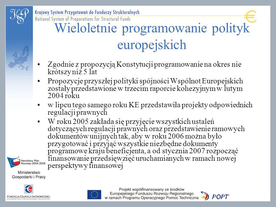 Wieloletnie programowanie polityk europejskich Zgodnie z propozycją Konstytucji programowanie na okres nie krótszy niż 5 lat Propozycje przyszłej polityki spójności Wspólnot Europejskich zostały przedstawione w trzecim raporcie kohezyjnym w lutym 2004 roku w lipcu tego samego roku KE przedstawiła projekty odpowiednich regulacji prawnych W roku 2005 zakłada się przyjęcie wszystkich ustaleń dotyczących regulacji prawnych oraz przedstawienie ramowych dokumentów unijnych tak, aby w roku 2006 można było przygotować i przyjąć wszystkie niezbędne dokumenty programowe kraju beneficjenta, a od stycznia 2007 rozpocząć finansowanie przedsięwzięć uruchamianych w ramach nowej perspektywy finansowej