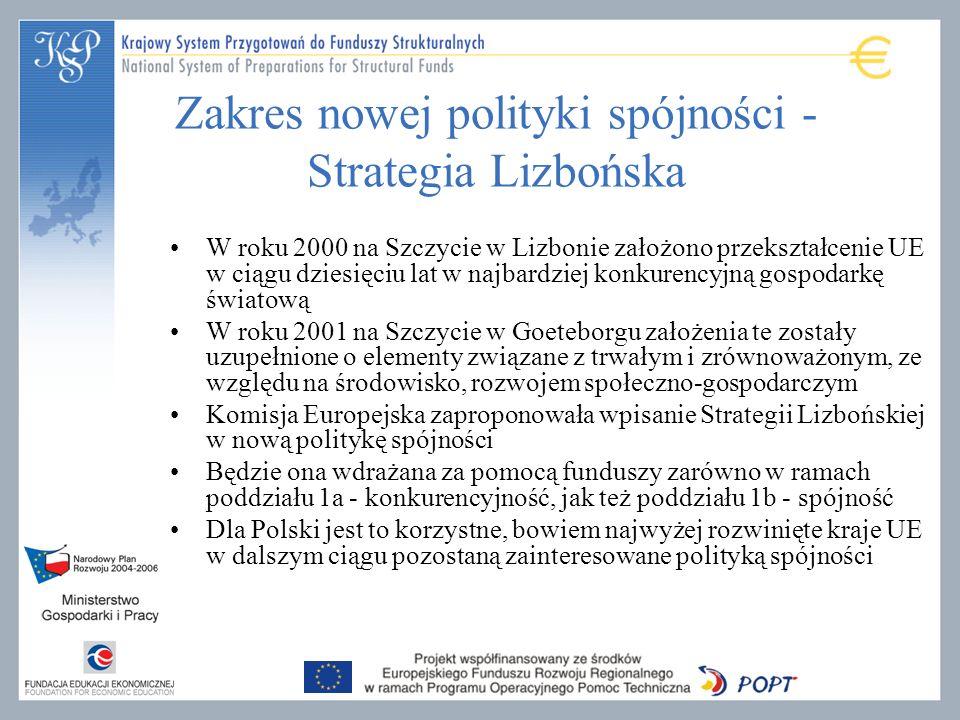 Zakres nowej polityki spójności - Strategia Lizbońska W roku 2000 na Szczycie w Lizbonie założono przekształcenie UE w ciągu dziesięciu lat w najbardziej konkurencyjną gospodarkę światową W roku 2001 na Szczycie w Goeteborgu założenia te zostały uzupełnione o elementy związane z trwałym i zrównoważonym, ze względu na środowisko, rozwojem społeczno-gospodarczym Komisja Europejska zaproponowała wpisanie Strategii Lizbońskiej w nową politykę spójności Będzie ona wdrażana za pomocą funduszy zarówno w ramach poddziału 1a - konkurencyjność, jak też poddziału 1b - spójność Dla Polski jest to korzystne, bowiem najwyżej rozwinięte kraje UE w dalszym ciągu pozostaną zainteresowane polityką spójności