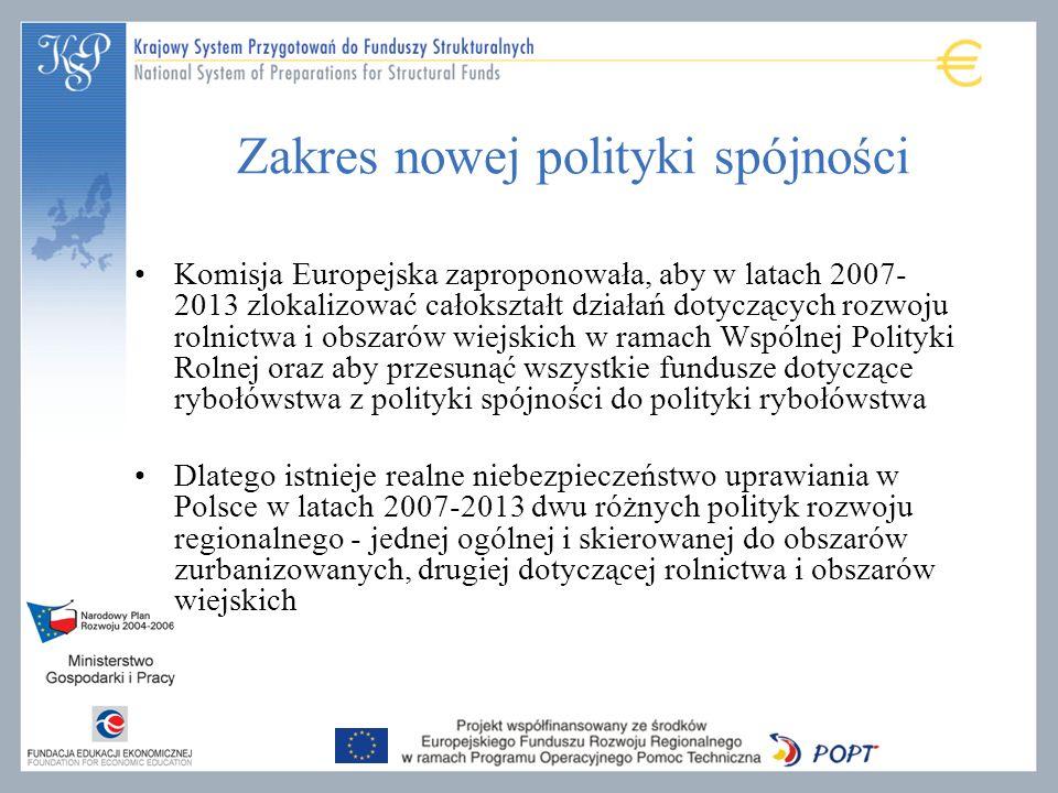 Zakres nowej polityki spójności Komisja Europejska zaproponowała, aby w latach 2007- 2013 zlokalizować całokształt działań dotyczących rozwoju rolnict