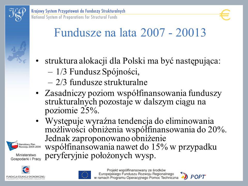 Fundusze na lata 2007 - 20013 struktura alokacji dla Polski ma być następująca: –1/3 Fundusz Spójności, –2/3 fundusze strukturalne Zasadniczy poziom współfinansowania funduszy strukturalnych pozostaje w dalszym ciągu na poziomie 25%.