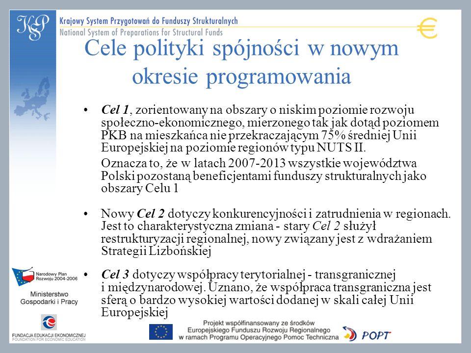 Cele polityki spójności w nowym okresie programowania Cel 1, zorientowany na obszary o niskim poziomie rozwoju społeczno-ekonomicznego, mierzonego tak