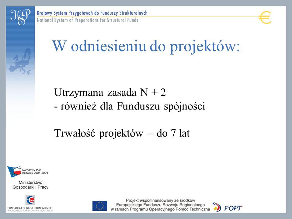 Utrzymana zasada N + 2 - również dla Funduszu spójności Trwałość projektów – do 7 lat W odniesieniu do projektów: