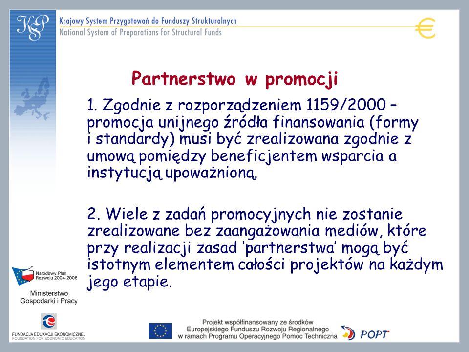 Partnerstwo w promocji 1. Zgodnie z rozporządzeniem 1159/2000 – promocja unijnego źródła finansowania (formy i standardy) musi być zrealizowana zgodni