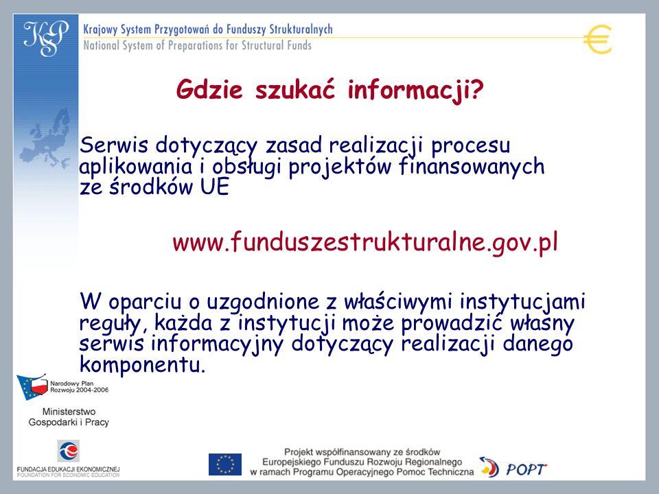 Gdzie szukać informacji? Serwis dotyczący zasad realizacji procesu aplikowania i obsługi projektów finansowanych ze środków UE www.funduszestrukturaln