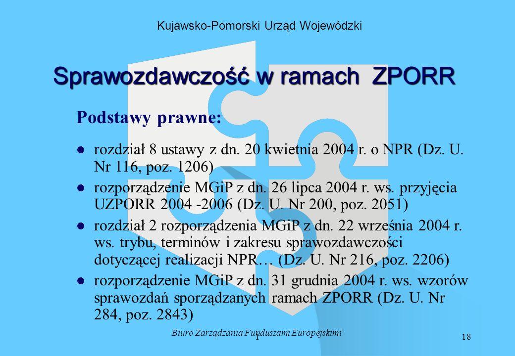 118 Biuro Zarządzania Funduszami Europejskimi Kujawsko-Pomorski Urząd Wojewódzki Sprawozdawczość w ramach ZPORR Podstawy prawne: l l rozdział 8 ustawy z dn.