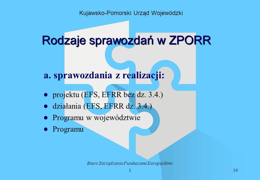 119 Biuro Zarządzania Funduszami Europejskimi Kujawsko-Pomorski Urząd Wojewódzki Rodzaje sprawozdań w ZPORR a.