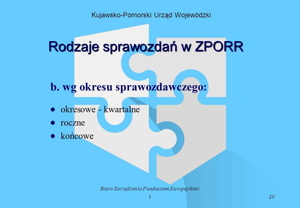 120 Biuro Zarządzania Funduszami Europejskimi Kujawsko-Pomorski Urząd Wojewódzki Rodzaje sprawozdań w ZPORR b.
