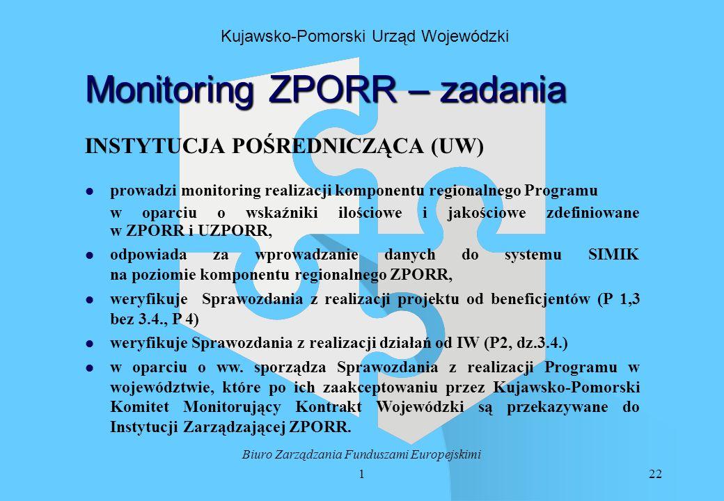122 Biuro Zarządzania Funduszami Europejskimi Kujawsko-Pomorski Urząd Wojewódzki Monitoring ZPORR – zadania INSTYTUCJA POŚREDNICZĄCA (UW) l l prowadzi monitoring realizacji komponentu regionalnego Programu w oparciu o wskaźniki ilościowe i jakościowe zdefiniowane w ZPORR i UZPORR, l l odpowiada za wprowadzanie danych do systemu SIMIK na poziomie komponentu regionalnego ZPORR, l l weryfikuje Sprawozdania z realizacji projektu od beneficjentów (P 1,3 bez 3.4., P 4) l l weryfikuje Sprawozdania z realizacji działań od IW (P2, dz.3.4.) l l w oparciu o ww.