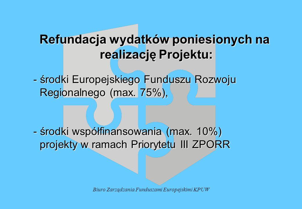 Biuro Zarządzania Funduszami Europejskimi KPUW Refundacja wydatków poniesionych na realizację Projektu: realizację Projektu: - środki Europejskiego Funduszu Rozwoju - środki Europejskiego Funduszu Rozwoju Regionalnego (max.