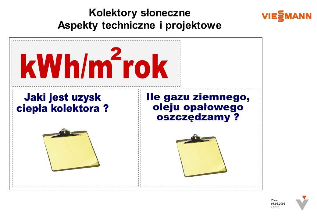 Ziem 04.06.2008 Toruń Kolektory słoneczne Aspekty techniczne i projektowe