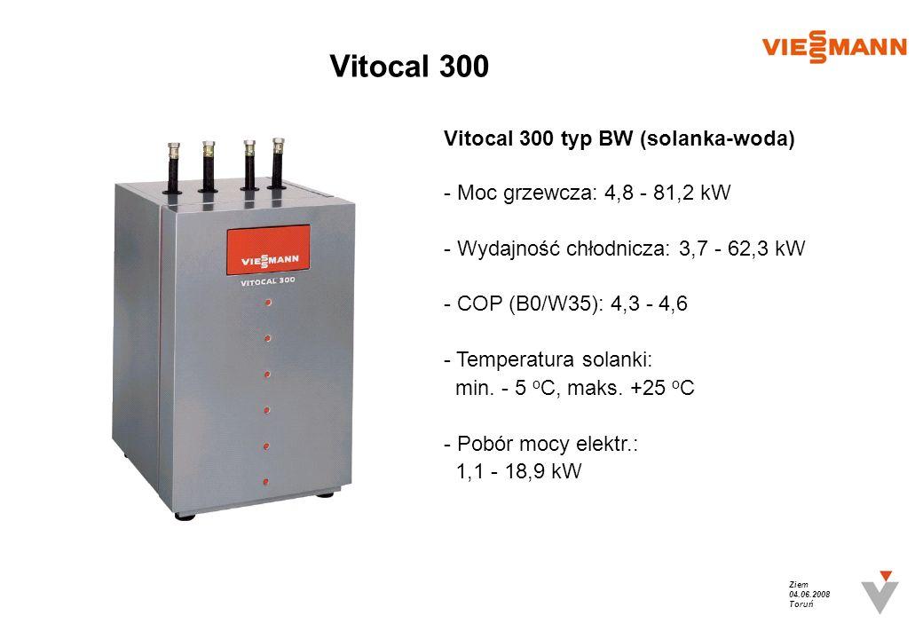 Ziem 04.06.2008 Toruń Vitocal 300 Vitocal 300 typ BW (solanka-woda)- Moc grzewcza: 4,8 - 81,2 kW- Wydajność chłodnicza: 3,7 - 62,3 kW- COP (B0/W35): 4