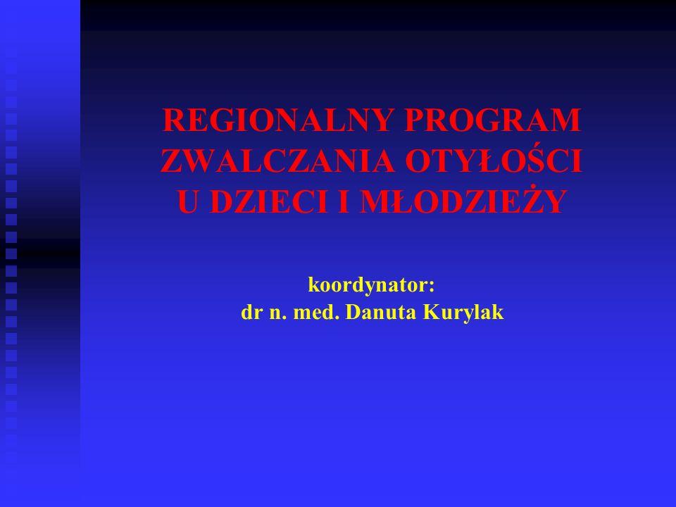 REGIONALNY PROGRAM ZWALCZANIA OTYŁOŚCI U DZIECI I MŁODZIEŻY koordynator: dr n. med. Danuta Kurylak