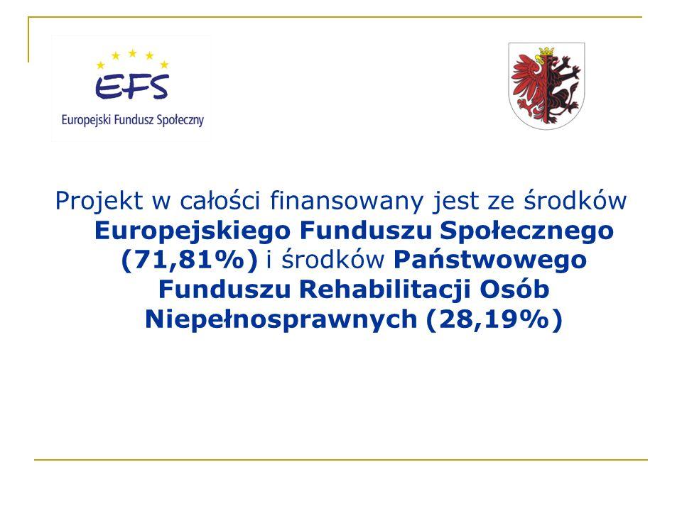 Projekt w całości finansowany jest ze środków Europejskiego Funduszu Społecznego (71,81%) i środków Państwowego Funduszu Rehabilitacji Osób Niepełnosprawnych (28,19%)