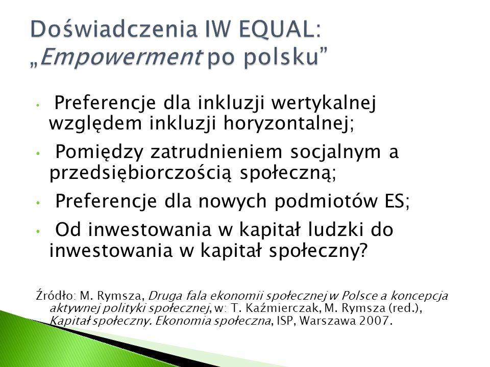 Preferencje dla inkluzji wertykalnej względem inkluzji horyzontalnej; Pomiędzy zatrudnieniem socjalnym a przedsiębiorczością społeczną; Preferencje dla nowych podmiotów ES; Od inwestowania w kapitał ludzki do inwestowania w kapitał społeczny.