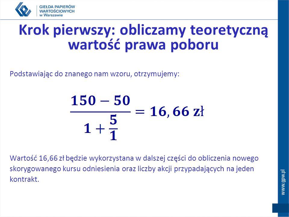 Krok pierwszy: obliczamy teoretyczną wartość prawa poboru Podstawiając do znanego nam wzoru, otrzymujemy: Wartość 16,66 zł będzie wykorzystana w dalsz