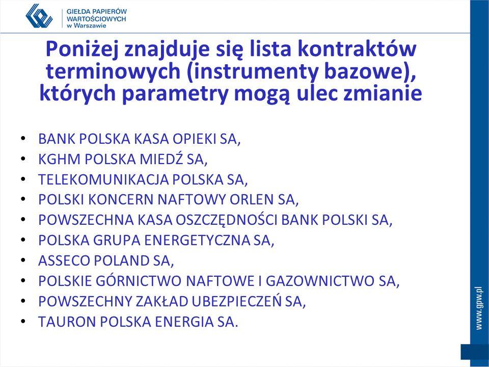 Poniżej znajduje się lista kontraktów terminowych (instrumenty bazowe), których parametry mogą ulec zmianie BANK POLSKA KASA OPIEKI SA, KGHM POLSKA MI